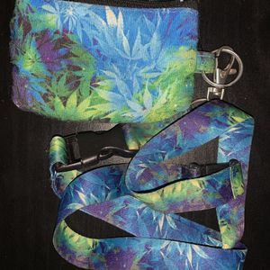 Green Blue Purple Weed Marijuana Pot Ganja Small Coin Pouch Wallet ID Keyring With Matching Lanyard! for Sale in Centreville, VA