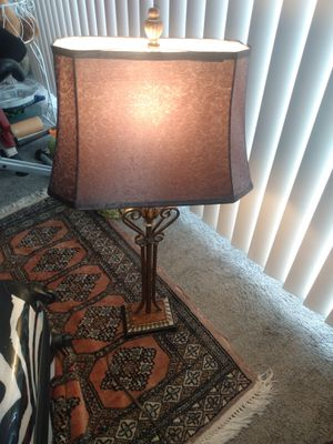 "Tall metal table lamp fabric brown shade 32"" for Sale in Alexandria, VA"