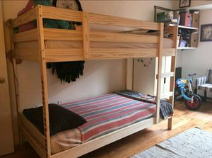 Beautiful IKEA 2 Tier TWIN Sz Size Bunkbed Bunk Beds + 1 Ladder INCLUDED (NO MATTRESS) for Sale in Monterey Park, CA