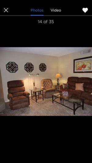 Reclining sofa, reclining chair, 2 end tables, coffee table and sofa table for Sale in Mesa, AZ