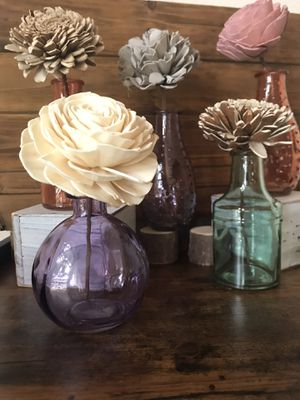 Wooden Flowers in Small Glass Vases for Sale in Visalia, CA