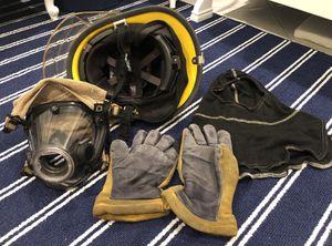 Firefighter helmet, SCBA face mask, Nomex hood, & Gloves for Sale in Pompano Beach, FL