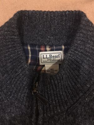 100% Lambswool LL Bean cardigan sweater plaid lining for Sale in Milton, WA