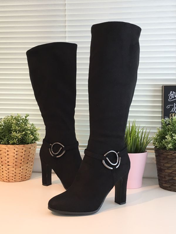 Women Long Suede Heel Winter Boots