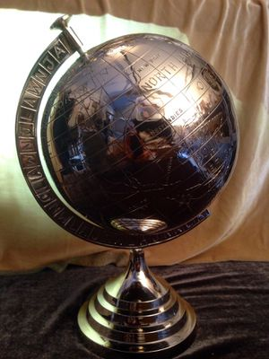 Chrome Earth Globe decorative home accent H12XW8 inch for Sale in Chandler, AZ