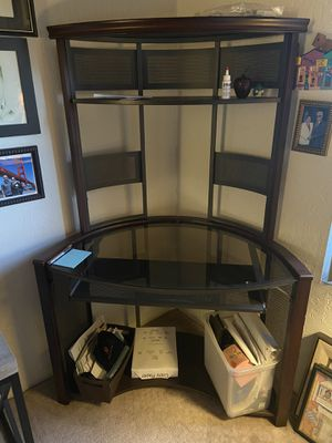 Office desk and glass Tv stand for sale obo for Sale in Costa Mesa, CA