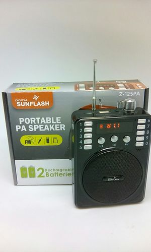 Portable Rechargeable USB SD FM Radio Speaker With Headset Microphone PA for Sale in San Bernardino, CA