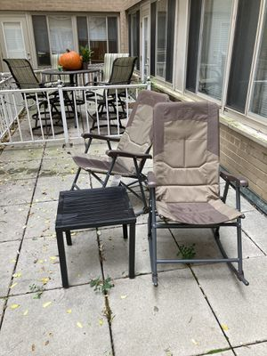 Two outdoor camping chairs (Alps Mountaineering) and metal table for Sale in Washington, DC