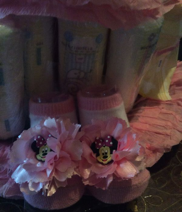 New Huge Minnie Mouse Diaper Cake For a Girl