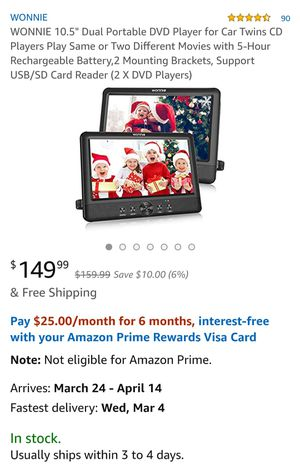 """Wonnie 10.5"""" Dual Screen Portable DVD Player for Car with Two Mounting Brackets for Sale in Chino, CA"""