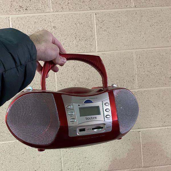 Red Boytone Stereo CD Player FM radio Speaker System