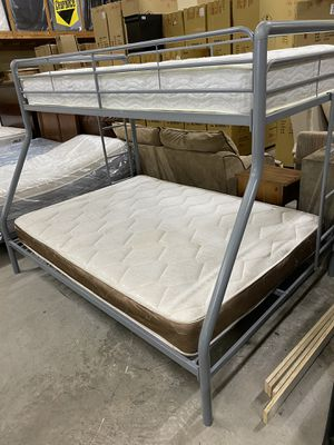 COMPLETE GREY Twin over Full Bunk Bed Including Mattresses! Professionally Sanitized! for Sale in San Antonio, TX