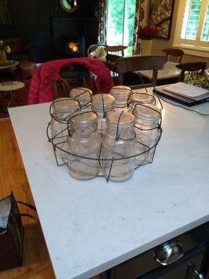 Vintage set of canning jars with metal rack for Sale in Snohomish, WA