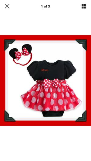 BABY GIRL DISNEY STORE MINNIE MOUSE BODYSUIT DRESS W /Headband Ears 12-18 months for Sale in Sunrise Manor, NV