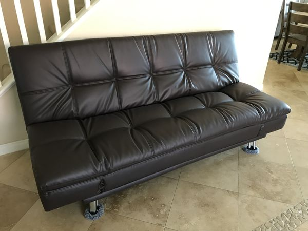 Beautiful Brand New Chocolate Brown Leather Sofa Futon