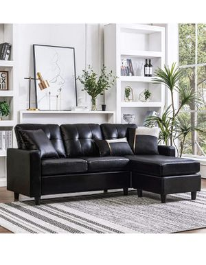 BRAND NEW BLACK FAUX LEATHER SOFA WITH OTTOMAN for Sale in Kingsburg, CA