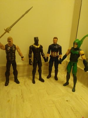 Thor black panther captain america and green arrow for Sale in Petersburg, VA