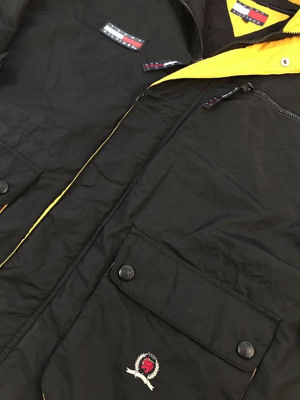 VINTAGE VTG 90s TOMMY HILFIGER WINDBREAKER JACKET XL HOODIE PARKA ANORAK BLACK CREST LION SPELL OUT BIG FLAG 1990s
