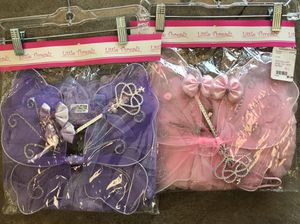 Baby toddler girl princess fairy tutu wing wand hair clip set girl dress up birthday for Sale in Mission Viejo, CA