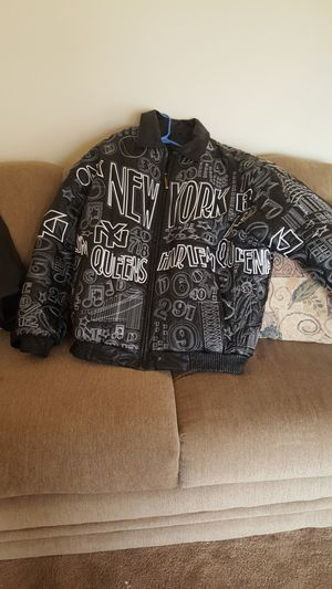 NY style embroidered leather. Coat for Sale in Severn, MD