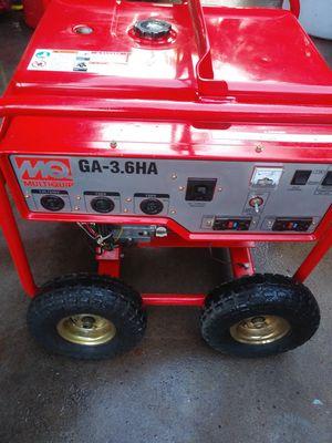 MQ GA36HA Generator 3.6KW 7.1 hp Honda GX240 engine, recoil start, 5 gallon fuel capacity, 3,200 continuous watts, max. 30 amps 120V/240V for Sale in San Diego, CA