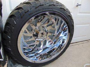 LT 33 14.50 22 AMP M/T 12PLY Tires & 22X14 Chrome RBP Rims*8X170 FORD* for Sale in Aurora, CO