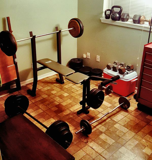 Weights, barbells, dumbbells, curl bars. 50 cents per pound firm.