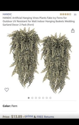 HANDIC Artificial Hanging Vines Plants Fake Ivy Ferns for Outdoor UV Resistant for Wall Indoor Hanging Baskets Wedding Garland Decor 2 Pack (Fern) for Sale in Birmingham, AL