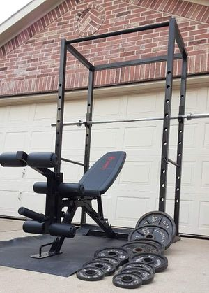 Power cage bench bar and weights for Sale in Saginaw, TX