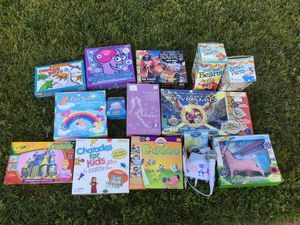 Games, puzzles for kids, charades, Cadoo, play doh, Webkinz, stitch doll for Sale in Cypress, CA