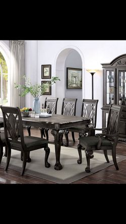 9PC Dark Grey Dinning Table for Sale in Fresno,  CA