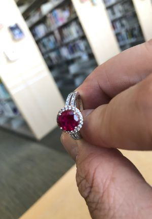 Handcrafted silver ring. W/ 14k gold and .24ct Diamonds and Ruby Centerpiece for Sale in Sacramento, CA