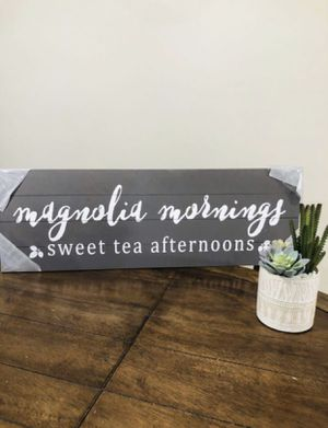 Magnolia Mornings Rustic Wood Sign for Sale in Anaheim, CA