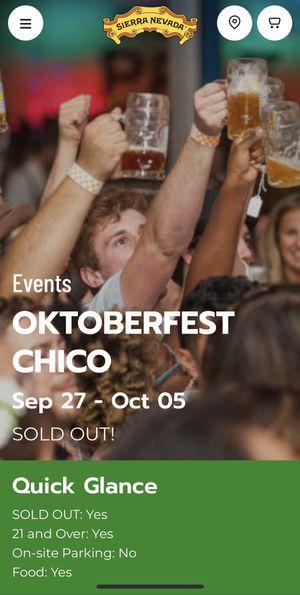 Sierra Nevada Oktoberfest Ticket - Saturday 10/5/19 for Sale in Chico, CA