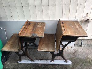 Old antique vintage double school desk for Sale in Portland, OR
