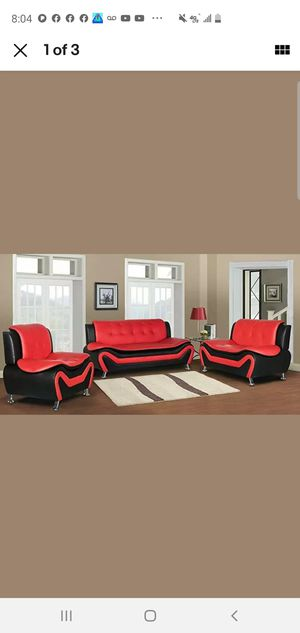 Black Red sofa chair & loveseat💕 for Sale in Auburn, WA