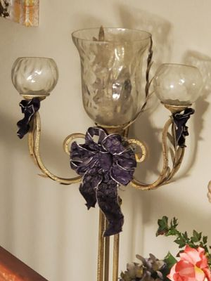 Candelabra lamps- 3 glass votive surrounding large hurricane glass for Sale in Austin, TX
