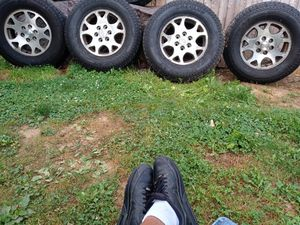 Set of wheels Hankook Dynapro size 265 70 R17 three of the rims the fourth Rim is a blowout I also got a spare wheel that goes with the deal for Sale in York, PA
