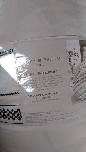 Lucky brand home 3 piece comforter set full or queen for Sale in San Jose, CA