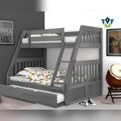 Twin Over Full Bunk Bed with Trundle. $53 DOWN PAYMENT for Sale in Belle Isle,  FL