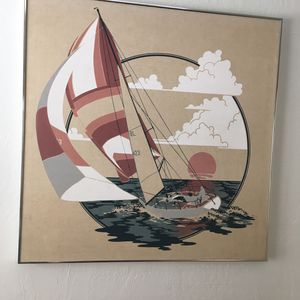 "Huge Oil Painting - Yacht Racing 40""sq for Sale in Seal Beach, CA"