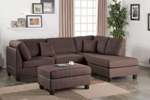 BROWN FABRIC SECTIONAL SOFA REVERSIBLE CHAISE OTTOMAN / SILLON SECCIONAL for Sale in Temecula, CA