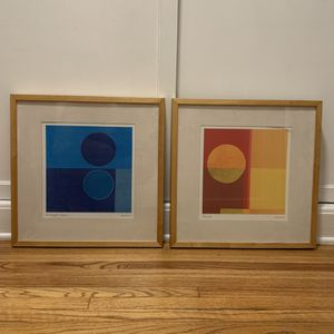 Pair of Pop-Art mid-century vintage Framed Prints - signed for Sale in Los Angeles, CA