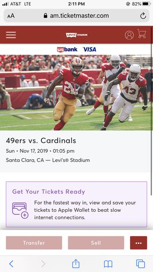 49er tickets vs cardinals Sunday section 141 11&12 for Sale in Redwood City, CA