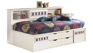 Ashley Zayley white bed with storage for Sale in Arlington, TX