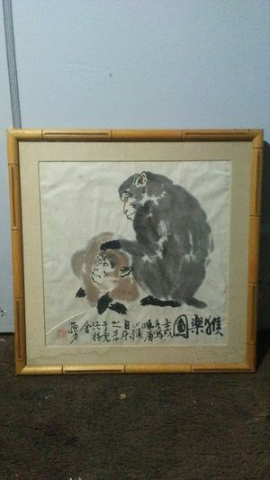 Japanese calligraphy ink painting two monkeys bamboo frame for Sale in Santa Monica, CA