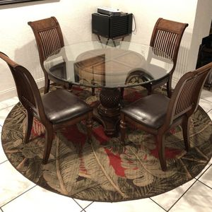 (6) Piece Elegant Glass Breakfast Table With Leather Cushioned Chairs for Sale in Fort Lauderdale, FL