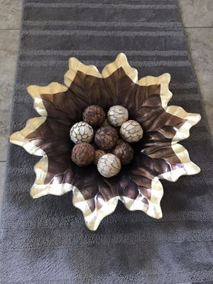 Decorative Gold and Brown Leaf Bowl With Balls for Sale in Glendale, AZ