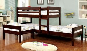 ESPRESSO TRIPLE TWIN SIZE BUNK BED CORNER DESIGN for Sale in Riverside, CA