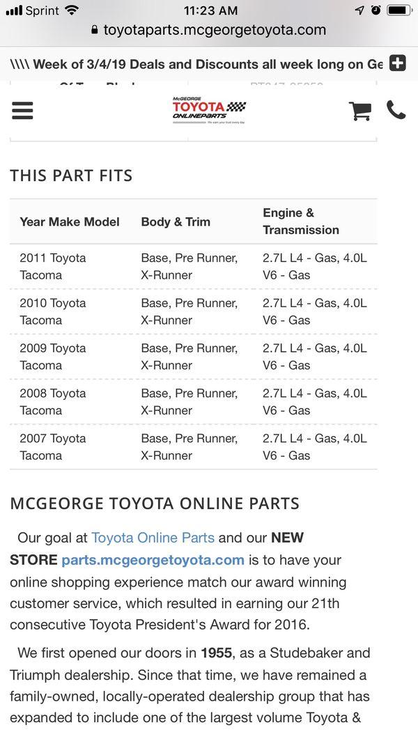 Toyota Tacoma Dcab Floor Mats Light set of 4 Charcoal BRAND NEW
